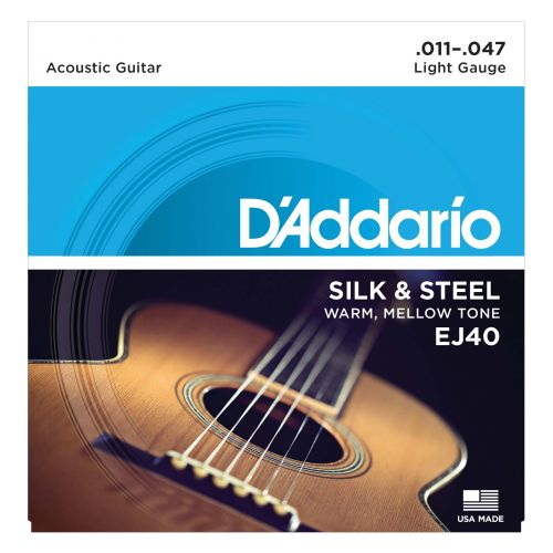 D Addario Ej40 Folk Silk Amp Steel Guitar Acoustic 6 String