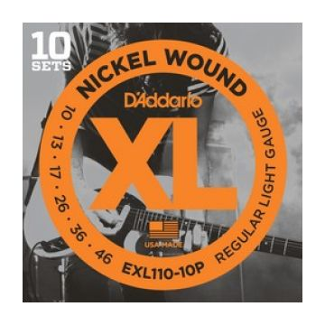Preview of D'Addario EXL110-10P 10PACK XL nickelplated steel