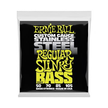 Preview of Ernie Ball 2842 Regular Slinky Stainless Steel Electric Bass Strings - 50-105 Gauge