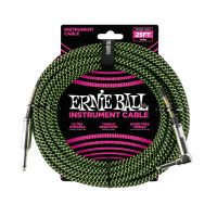 Thumbnail van Ernie Ball 6066 25' Braided Straight / Angle Instrument Cable - Black / Green