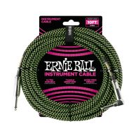 Thumbnail van Ernie Ball 6077 10' Braided Straight / Angle Instrument Cable - Black / Green