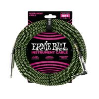 Thumbnail van Ernie Ball 6082 18' Braided Straight / Angle Instrument Cable - Black / Green