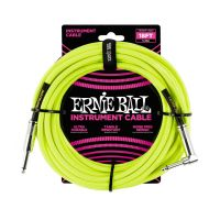 Thumbnail van Ernie Ball 6085 18' Braided Straight / Angle Instrument Cable Neon - Yellow