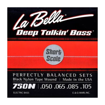 Preview of La Bella 750N-S Black Nylon Tape Wound Short Scale