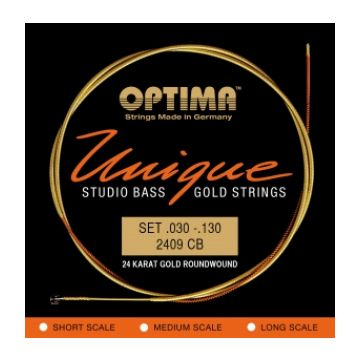 Preview of Optima 2409CB Unique studio 24k Gold strings Super Long scale Tapered B